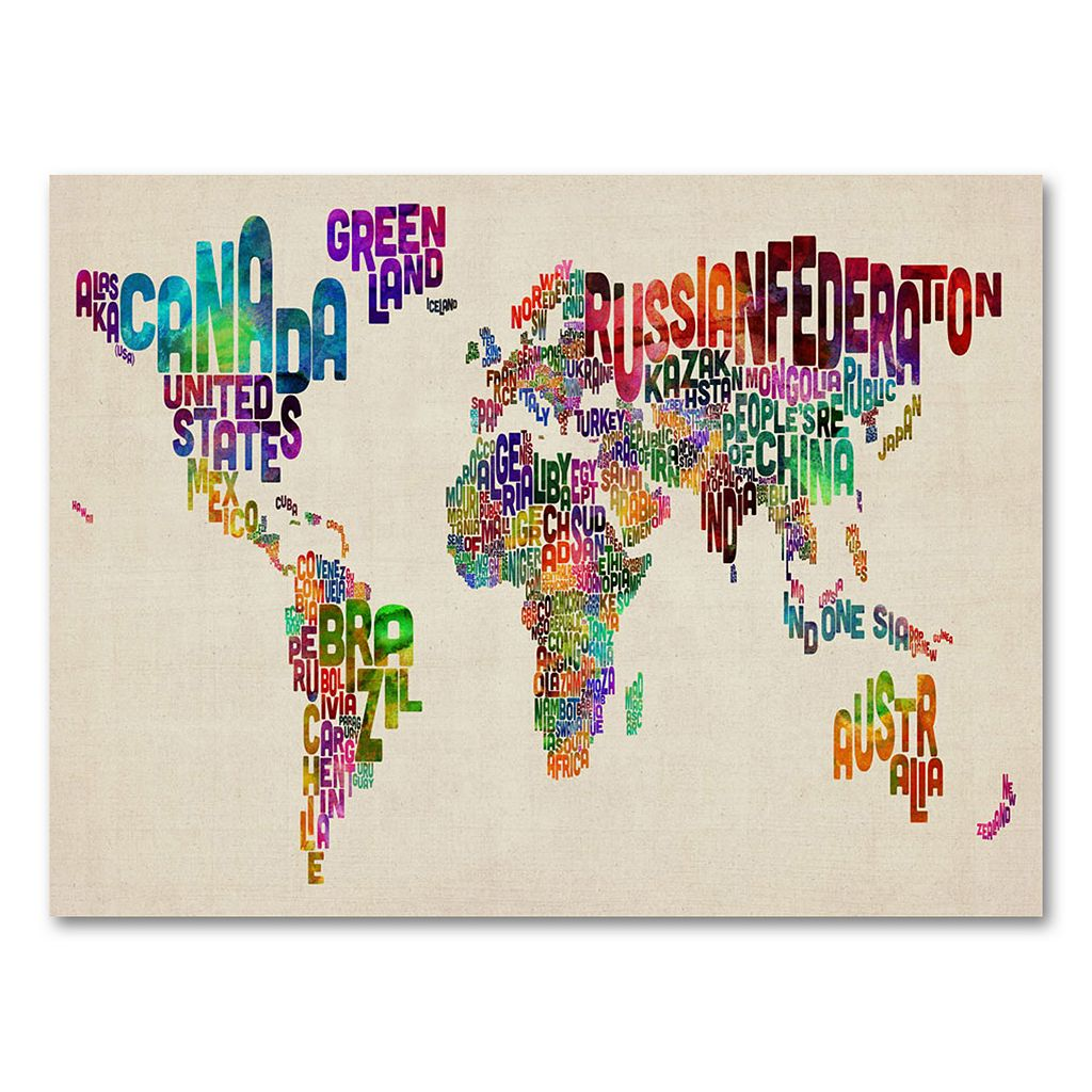 30'' x 47'' ''Typography World Map II'' Canvas Wall Art by Michael Tompsett