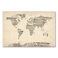 16'' x 24'' ''Old Sheet Music World Map'' Canvas Wall Art by Michael Tompsett
