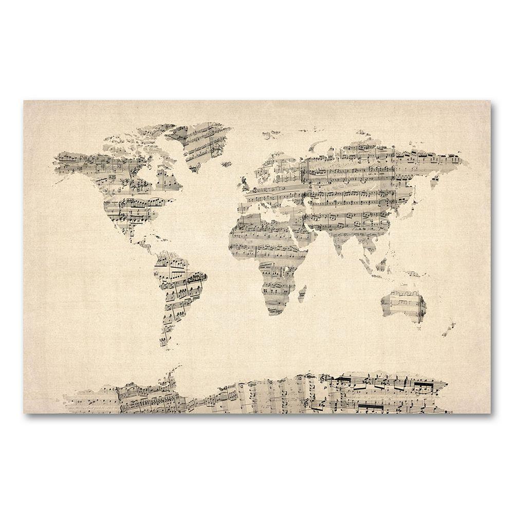 22'' x 32'' ''Old Sheet Music World Map'' Canvas Wall Art by Michael Tompsett