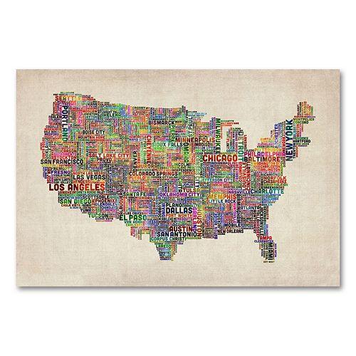 Trademark Fine Art US Cities Text Map VI Canvas Wall Art