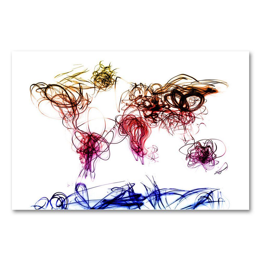 22'' x 32'' ''Light Writing World Map'' Canvas Wall Art by Michael Tompsett