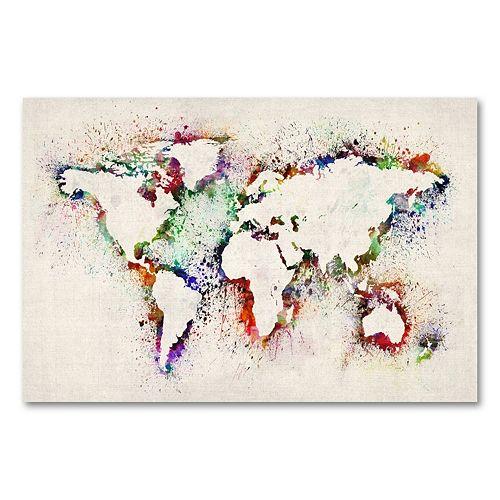 22'' x 32'' ''World Map - Paint Splashes'' Canvas Wall Art by Michael Tompsett