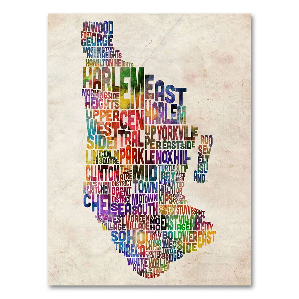 47'' x 30'' ''Manhattan Typography Map'' Canvas Wall Art by Michael Tompsett