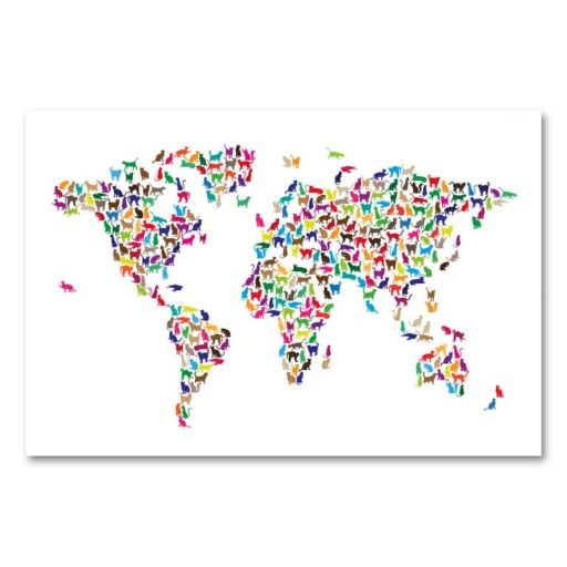 22 x 32 World Map - Cats Canvas Wall Art by Michael Tompsett