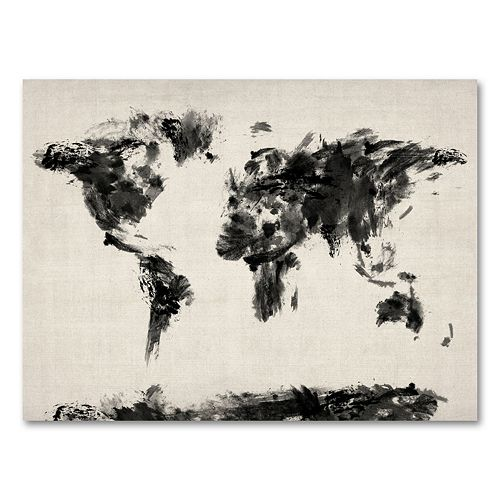 35'' x 47'' ''Abstract Map of the World'' Canvas Wall Art by Michael Tompsett