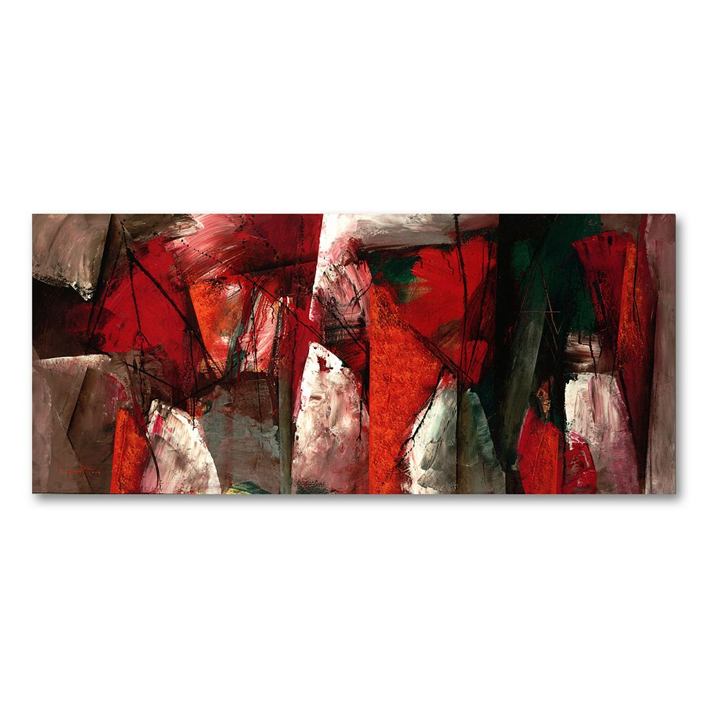 14'' x 32'' ''Abstract X'' Canvas Wall Art by Lopez