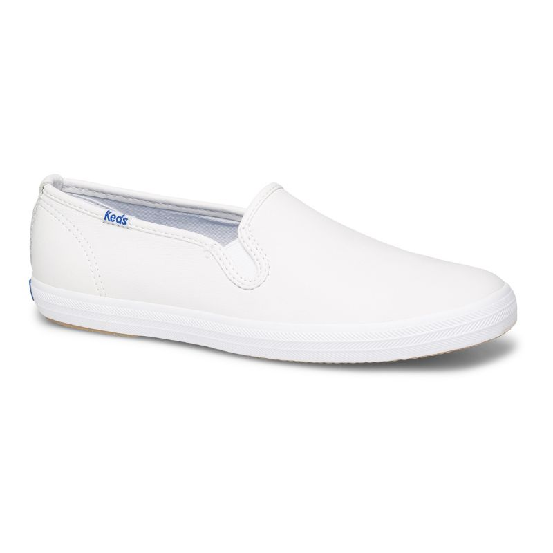 Keds Champion Women's Slip-On Leather Shoes, Size: 5 Wide, White