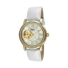 TKO Orlogi Women's Crystal Leather Mechanical Skeleton Watch