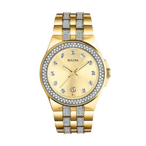 Bulova Men's Crystal Stainless Steel Watch - 98B174