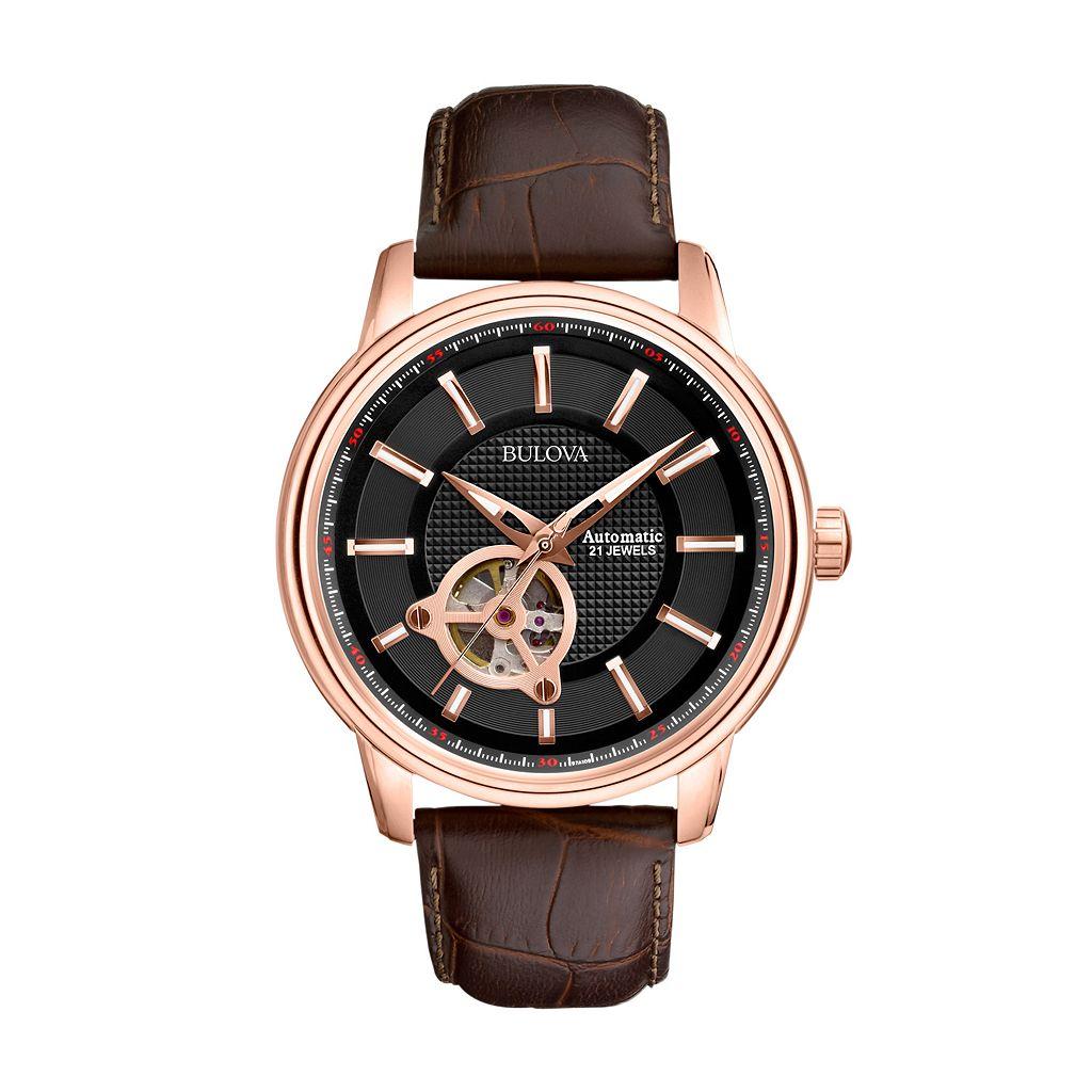 Bulova Men's Mechanical Leather Automatic Skeleton Watch - 97A109