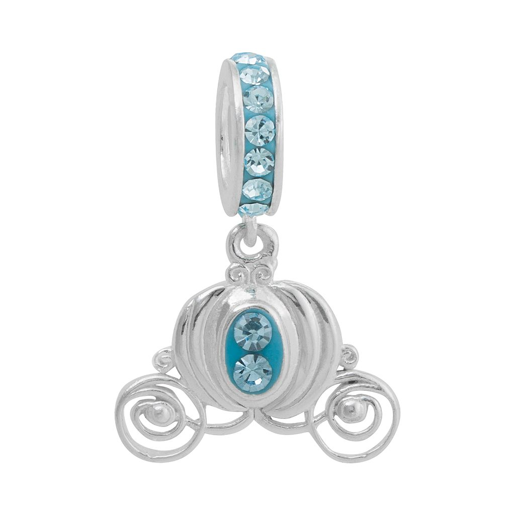 Disney Princess Cinderella Crystal Sterling Silver Carriage Charm