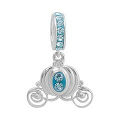 Disney Princess Cinderella Crystal Sterling Silver Carriage Charm