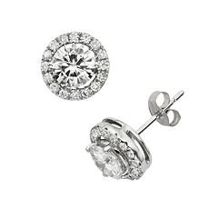 Forever Brilliant 14k White Gold 2 ctT.W. Round-Cut Lab-Created Moissanite Halo Stud Earrings