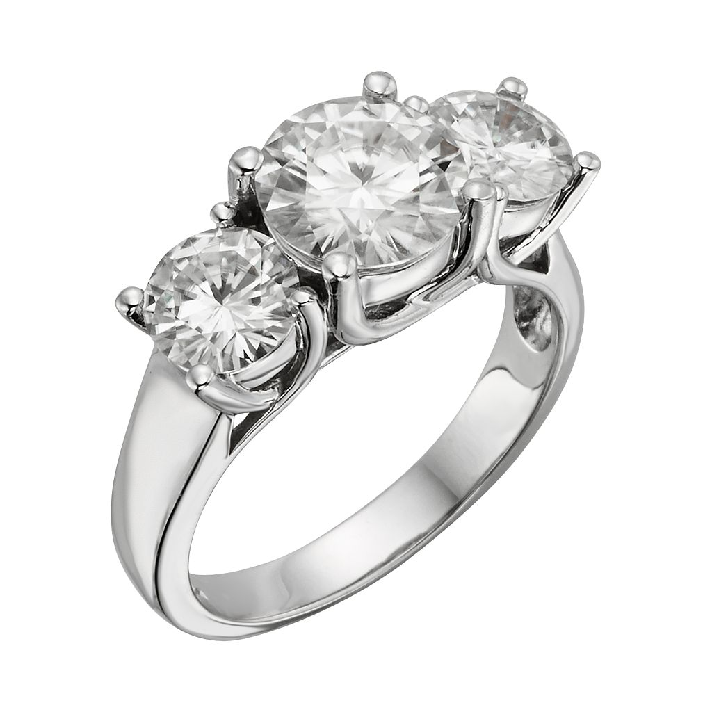 Forever Brilliant Round-Cut Lab-Created Moissanite 3-Stone Engagement Ring in 14k White Gold (3 9/10 ct. T.W.)