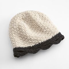 SIJJL Scalloped Crochet Wool Beanie