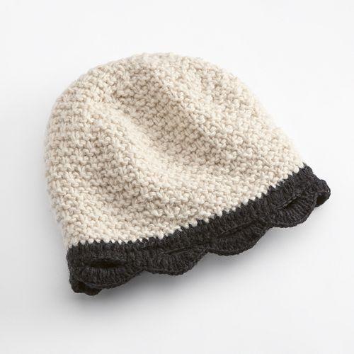 SIJJL Scalloped Crochet Wool Beanie