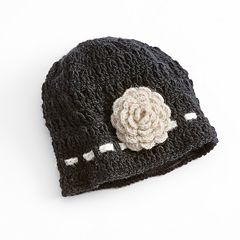 SIJJL Crochet Flower Wool Beanie