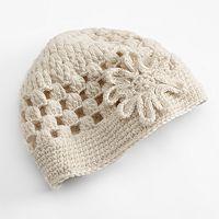 SIJJL Floral Crochet Wool Beanie