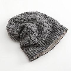 SIJJL Cable-Knit Wool Beanie