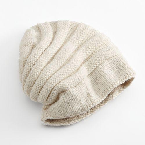 SIJJL Tube Knit Floppy Wool Beanie