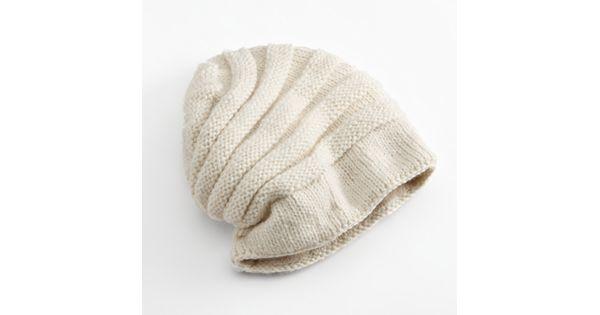 Knitting Pattern Floppy Beanie : SIJJL Tube Knit Floppy Wool Beanie