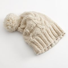 SIJJL Floppy Cable-Knit Wool Beanie