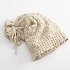 SIJJL Tie-Top Floppy Long Wool Beanie