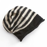 SIJJL Striped Slouchy Wool Beanie