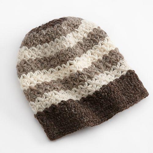 SIJJL Intricate Crochet Striped Wool Beanie