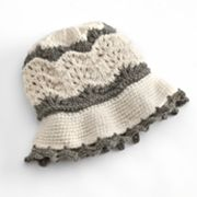 SIJJL Knit Scalloped Wool Sun Hat