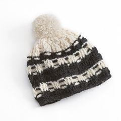 SIJJL Intricate Pom-Pom Crochet Knit Wool Beanie