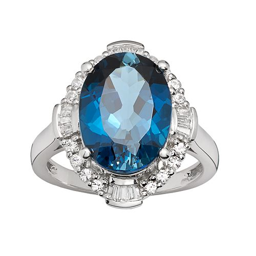 Sterling Silver London Blue Topaz & Lab-Created White Sapphire Scalloped Oval Halo Ring