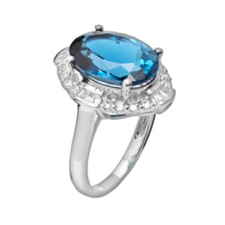 Sterling Silver London Blue Topaz and Lab-Created White Sapphire Scalloped Oval Halo Ring