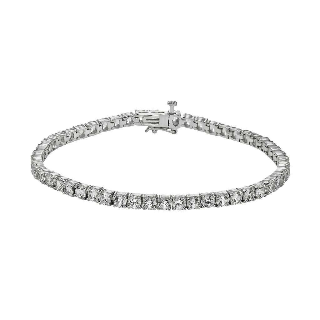 Sterling Silver Lab-Created White Sapphire Tennis Bracelet