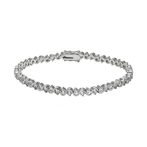 Sterling Silver Lab-Created White Sapphire S-Link Tennis Bracelet