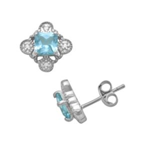 Sterling Silver Lab-Created Blue Topaz and Diamond Accent Stud Earrings