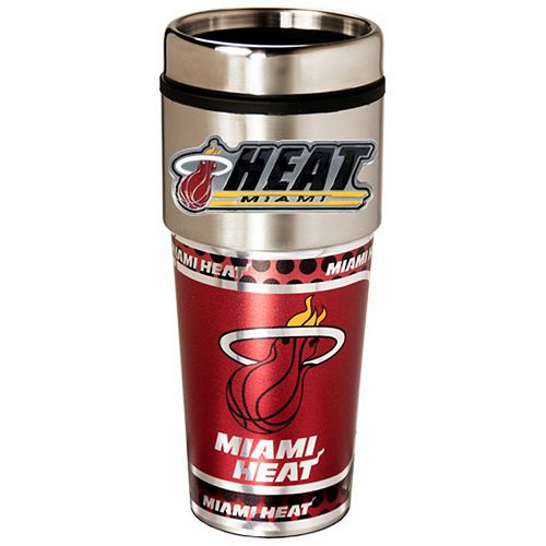 Miami Heat Stainless Steel Metallic Travel Tumbler