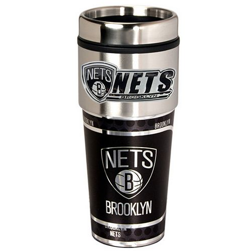 Brooklyn Nets Stainless Steel Metallic Travel Tumbler