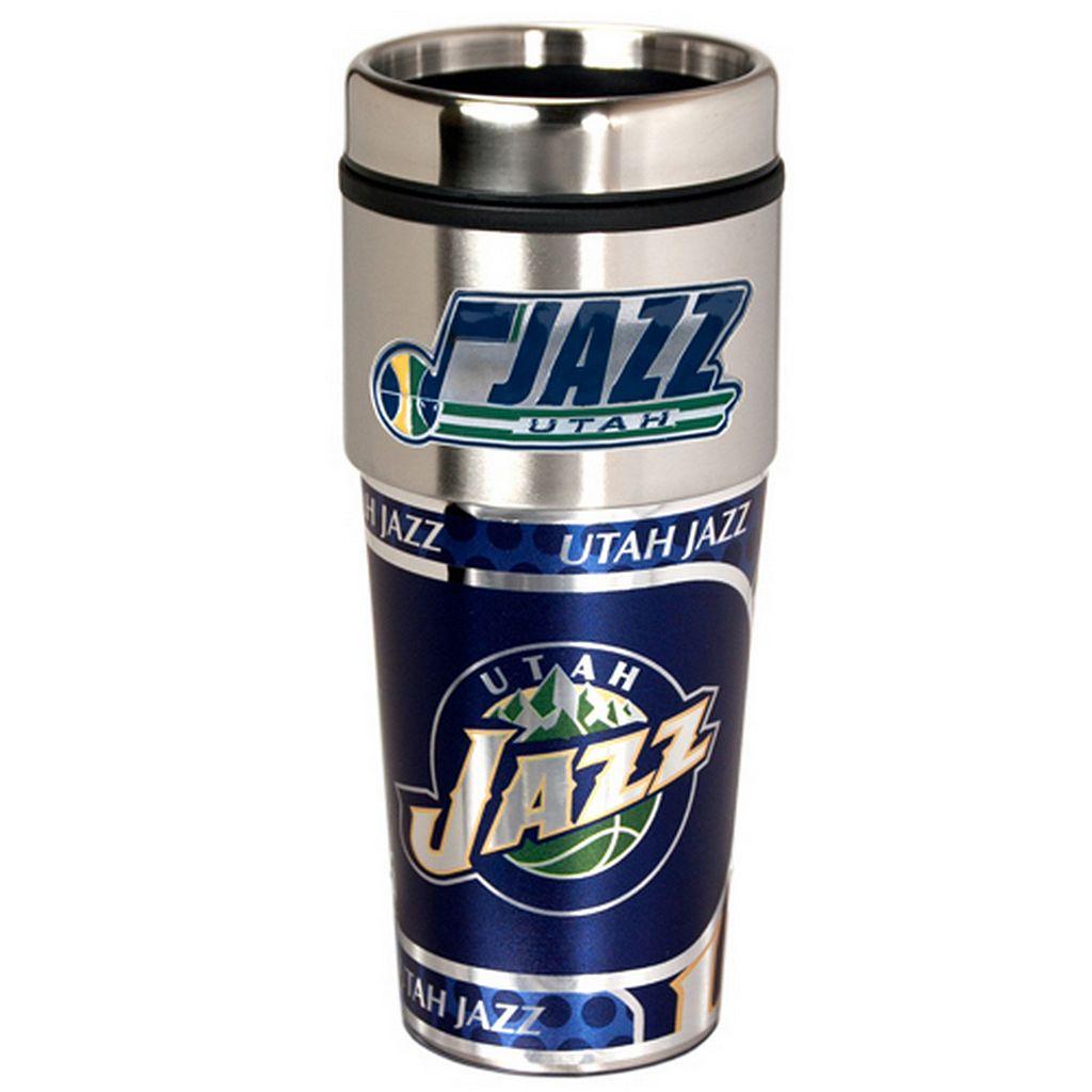 Utah Jazz Stainless Steel Metallic Travel Tumbler