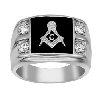 Stainless Steel Cubic Zirconia Masonic Ring - Men