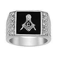 Stainless Steel Cubic Zirconia Ribbed Masonic Ring - Men