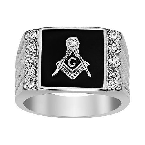 Stainless Steel Cubic Zirconia Ribbed Masonic Ring - Men