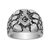 Stainless Steel Masonic Nugget Ring - Men