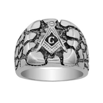 Stainless Steel Masonic Nugget Ring - Men