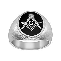 Stainless Steel Crystal Textured Masonic Ring - Men