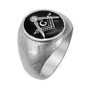 Stainless Steel Crystal Textured Masonic Ring - Men