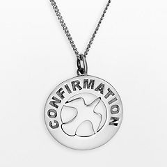 Sterling Silver 'Confirmation' Dove Circle Pendant