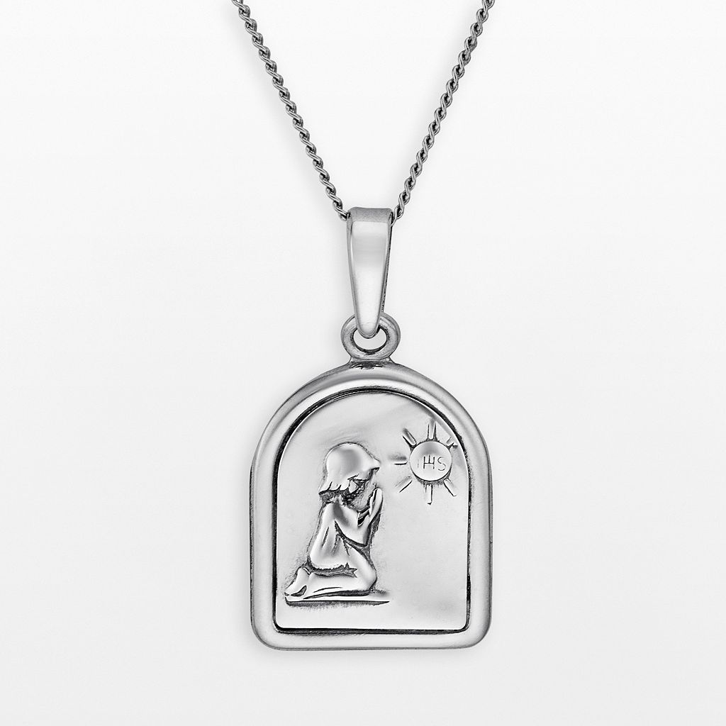 Sterling Silver Praying Child Tablet Pendant