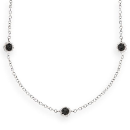 Silver-Plated .14-ct. T.W. Diamond Circle Link Station Necklace