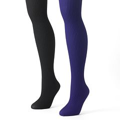 MUK LUKS 2 pkRibbed Microfiber Tights